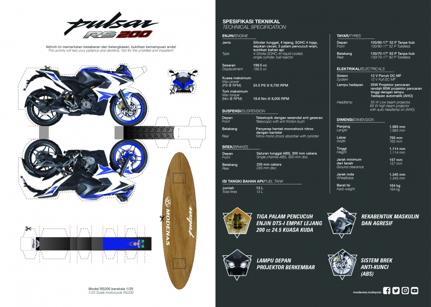 Modenas Pulsar RS200 dan NS200 dilancarkan – enjin 199.5 cc, 24.5 PS dan 18.6 Nm, harga dari RM9,222 Image #660655