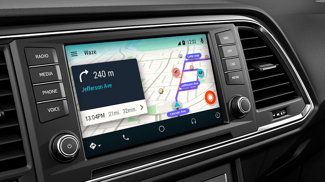 waze finally arrives on android auto in car gps app. Black Bedroom Furniture Sets. Home Design Ideas
