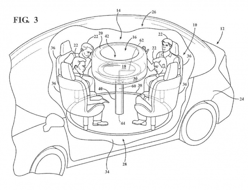 Ford files patent for retractable table with airbag Image #713663