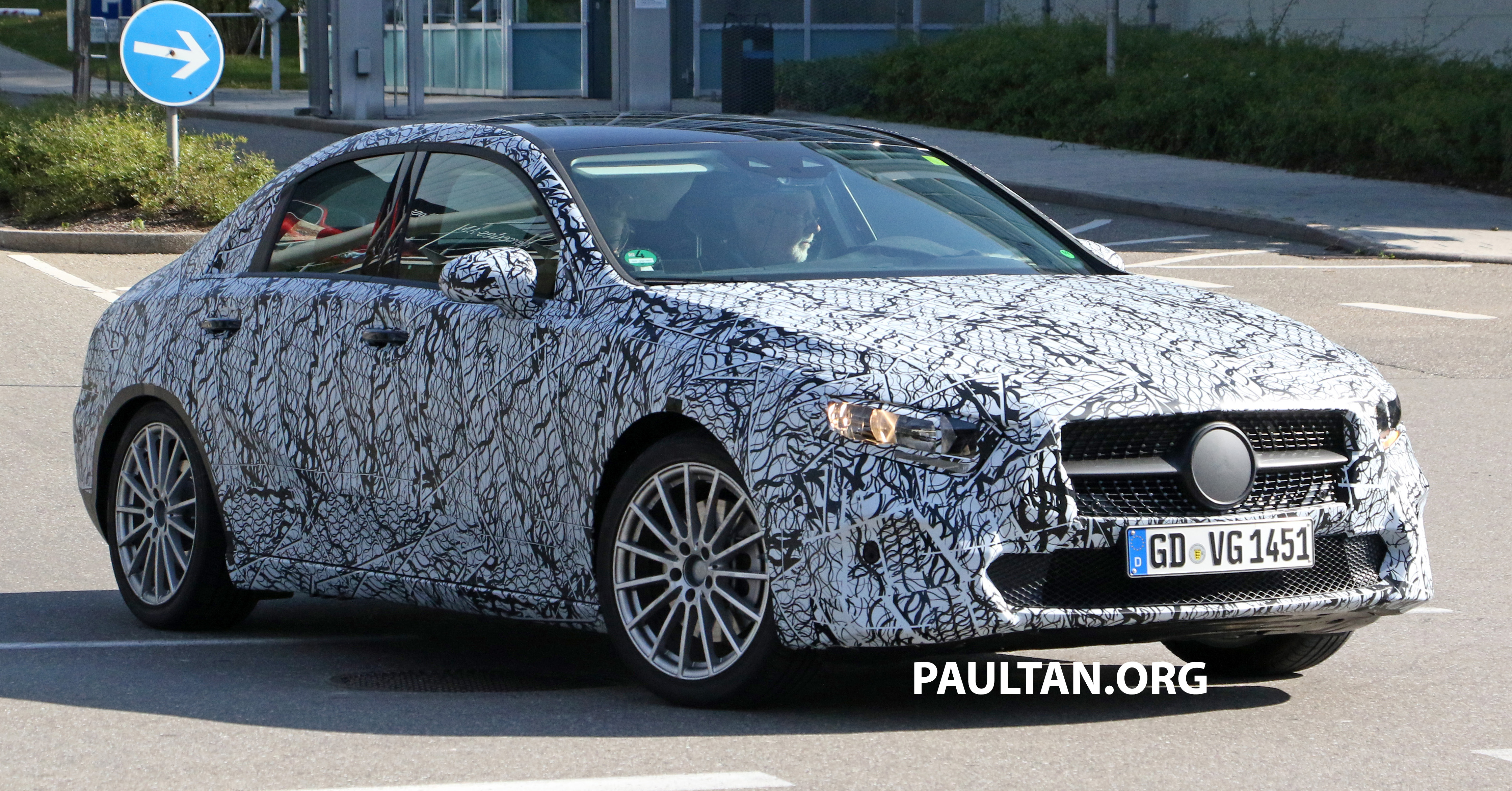 spied mercedes benz a class sedan spotted testing. Black Bedroom Furniture Sets. Home Design Ideas