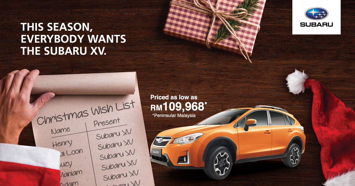 ad subaru christmas specials xv from as low rm109 968 plus free extras forester from rm113 890. Black Bedroom Furniture Sets. Home Design Ideas
