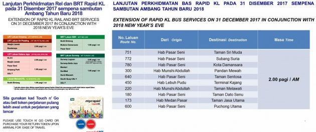 Prasarana To Extend Mrt Lrt Kl Monorail Brt And Rapidkl Operating Hours For New Year S Eve 2018