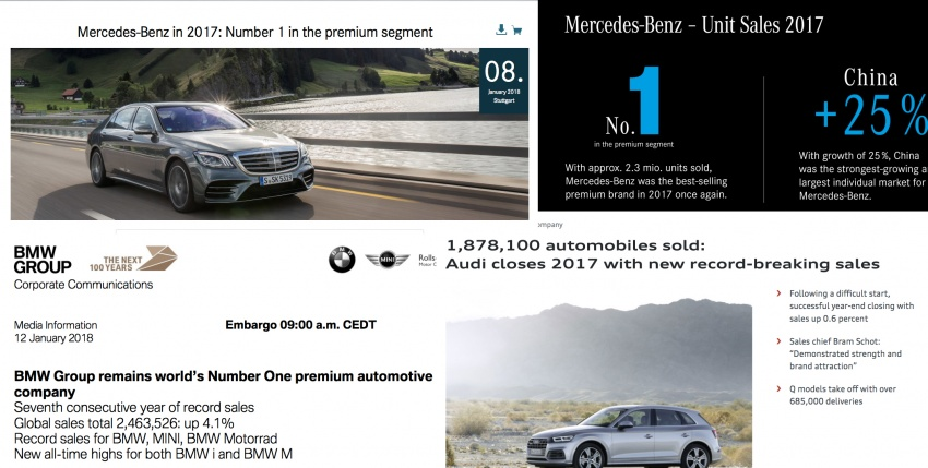 2017 premium brand car sales – all-time records for Mercedes-Benz, BMW, Audi; but who came out tops? Image #765329