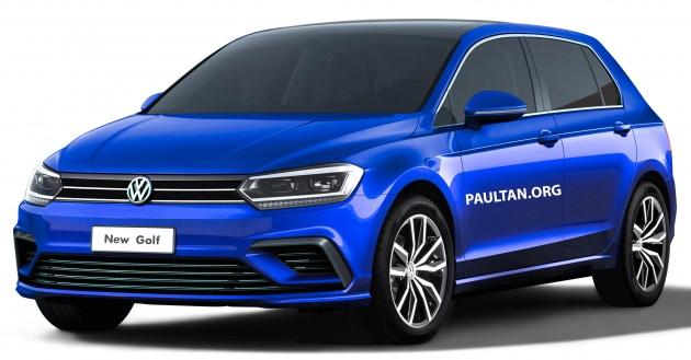 2019 Volkswagen Golf Mk8 rendered with new styling