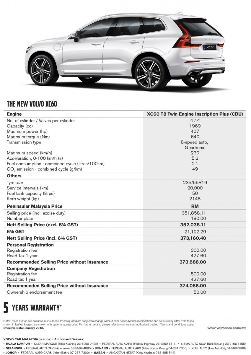 Volvo XC60 2018 dilancarkan di Malaysia – varian CKD dari RM299k, varian CBU tunggal pada harga RM374k Image #765563