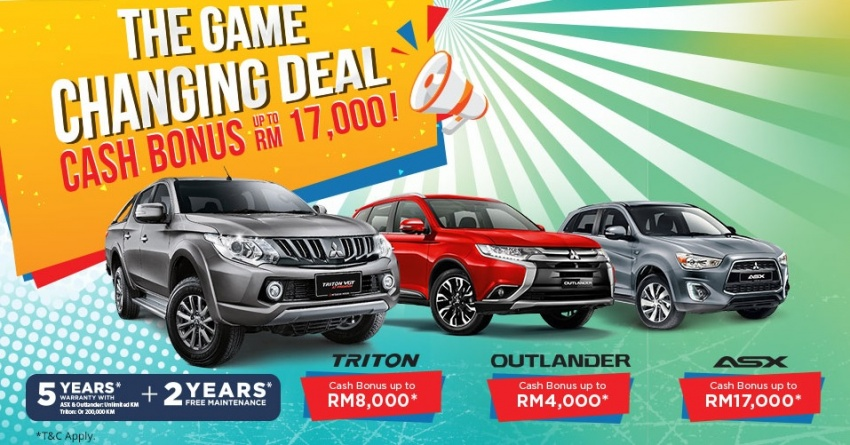 Mitsubishi Game Changing Deal – be rewarded with cash bonuses of up to RM17,000 on all models Image #784511