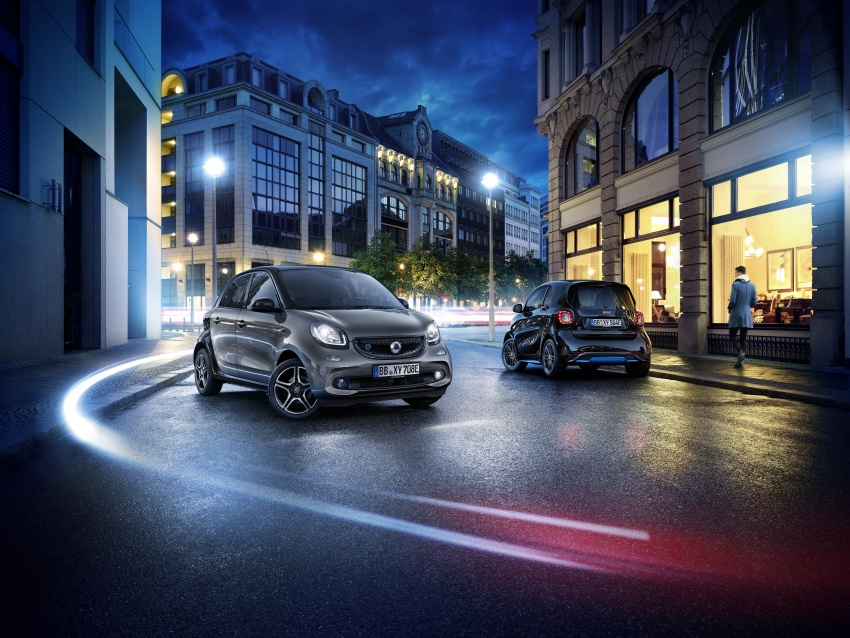 smart EQ fortwo, forfour nightsky edition EVs unveiled – new fast charger, car-sharing service also introduced Image #786751