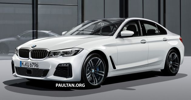 2019 G20 Bmw 3 Series Rendered Conjoined Kidney Grille Notched Headlamps L Shaped Tail Lamps