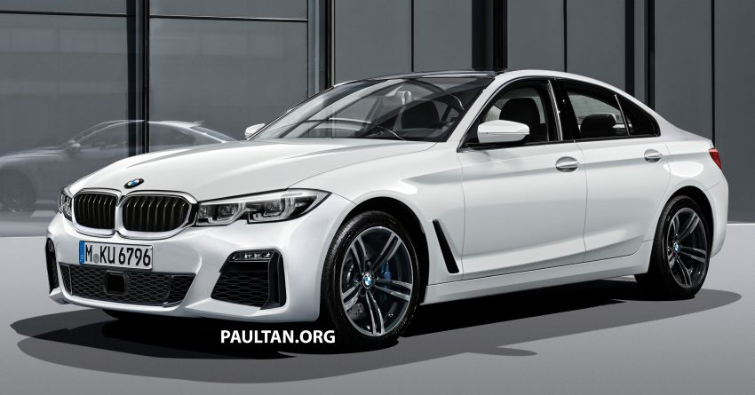 2019 G20 BMW 3 Series rendered – conjoined kidney grille, notched headlamps, L-shaped tail lamps Image #815541