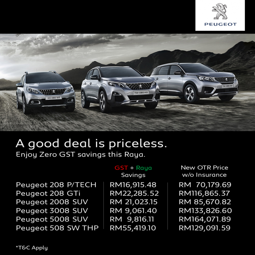 GST zero-rated: Peugeot models up to RM10,419 cheaper – Raya discounts, ex-SEA Games units as well Image #819628