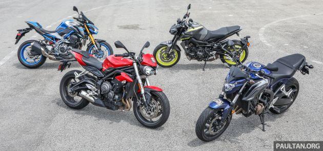 Honda CB650F, Kawasaki Z900 ABS, Triumph 765S, Yamaha MT-09