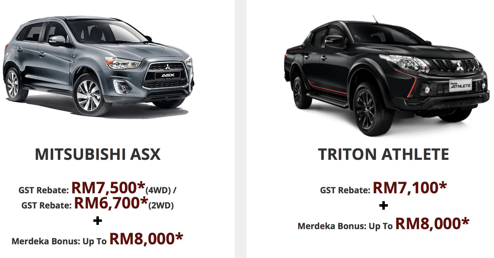 Mitsubishi Triton, ASX, Outlander - up to RM15k off!