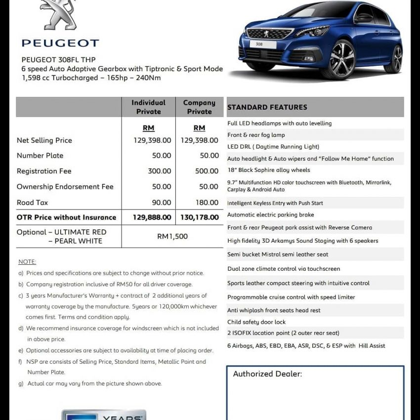 Peugeot 308 facelift Malaysian launch soon – RM130k Image #864087