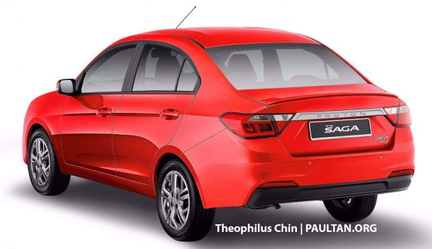 Proton Saga rendered with styling cues from the X70