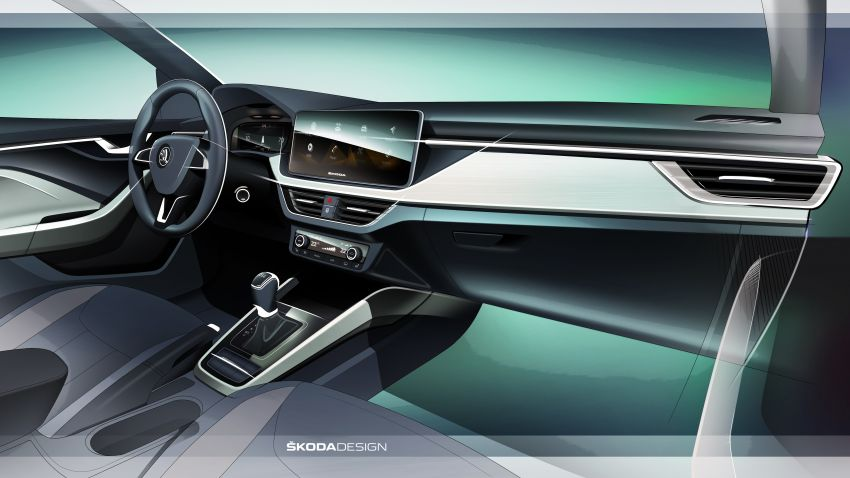 Skoda Scala – interior sketch shown, Dec 6 unveiling Image #886131