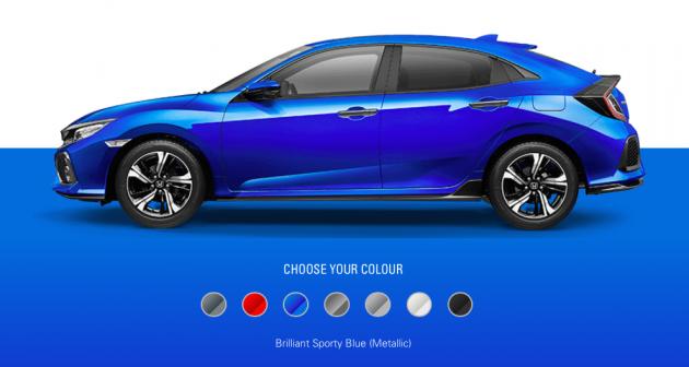 2019 honda civic hatchback to get brilliant sporty blue metallic sensing safety pack in thailand