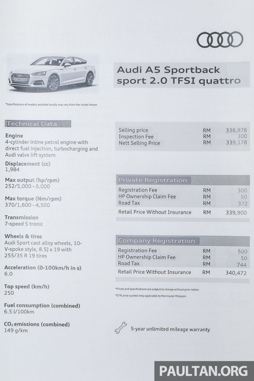 F5 Audi A5 Sportback sport 2.0 TFSI quattro previewed in Malaysia – 252 hp, 370 Nm, priced at RM339,900 Image #938445