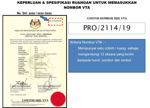 Mandatory For All New Vehicle Registrations To Have Valid Vta Certificate Serial Numbers From April 1 Jpj Paultan Org