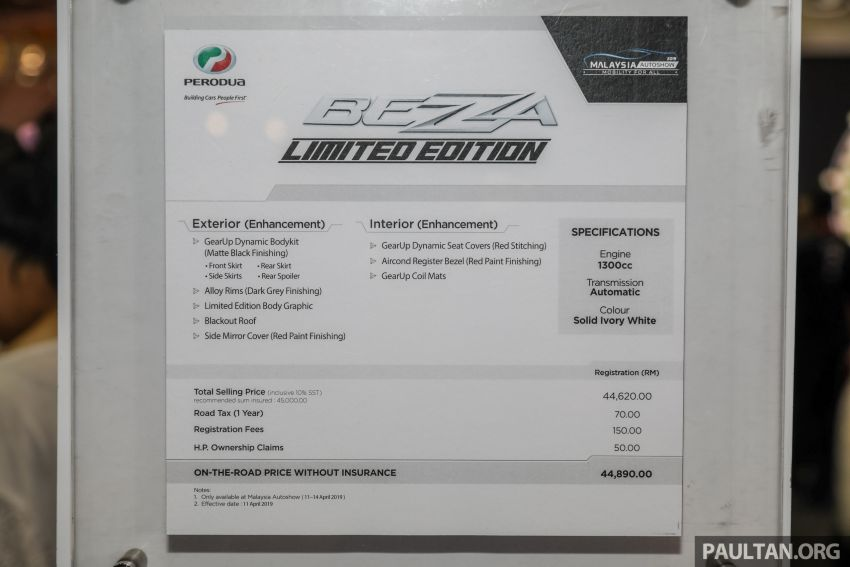 Perodua Bezza Limited Edition launched, RM44,890 Image #945331