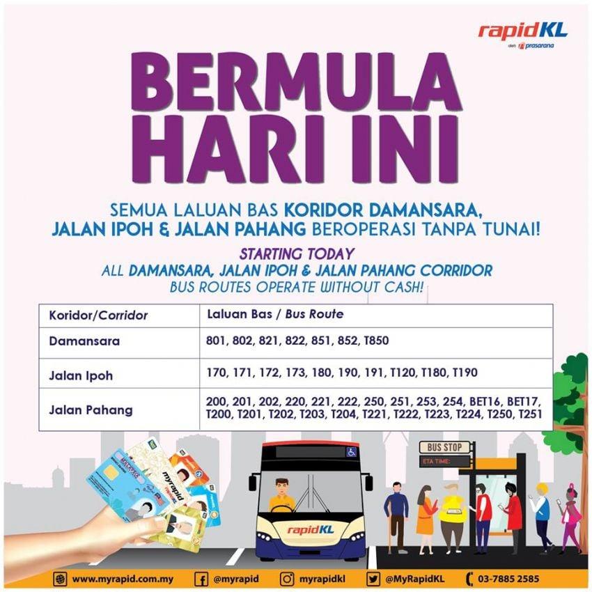 Three more RapidKL bus corridors going cashless Image #959337