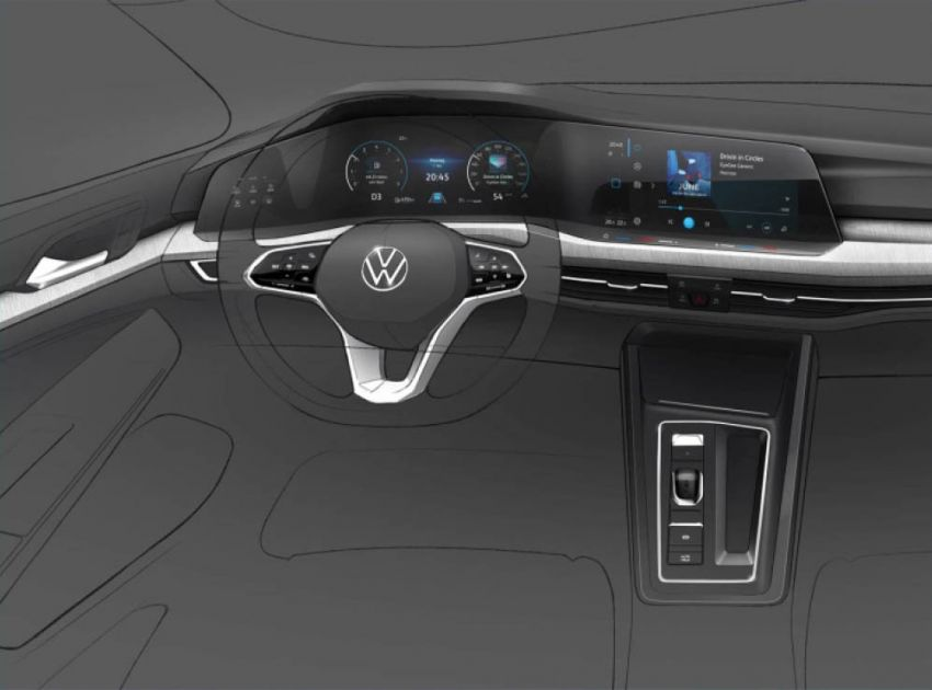 Volkswagen Golf Mk8 to debut in October – official sketches revealed; interior exposed in new spyshots Image #960372