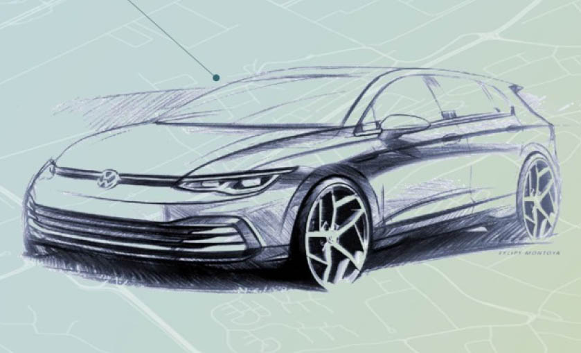 Volkswagen Golf Mk8 to debut in October – official sketches revealed; interior exposed in new spyshots Image #960373