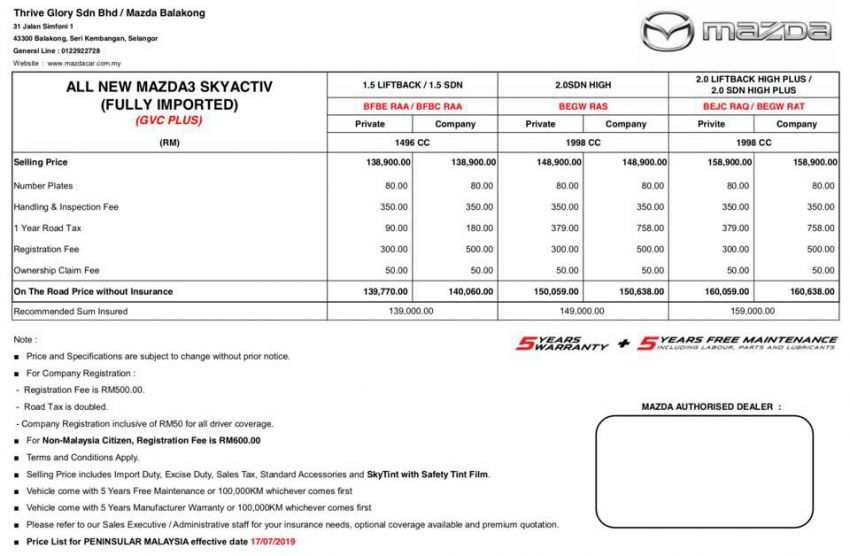 2019 Mazda 3 Malaysian pricing out – RM140k-RM161k Image #980973