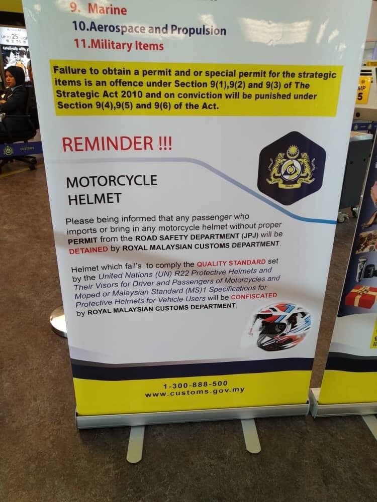 Can you bring your motorcycle helmet into Malaysia? Image #982972