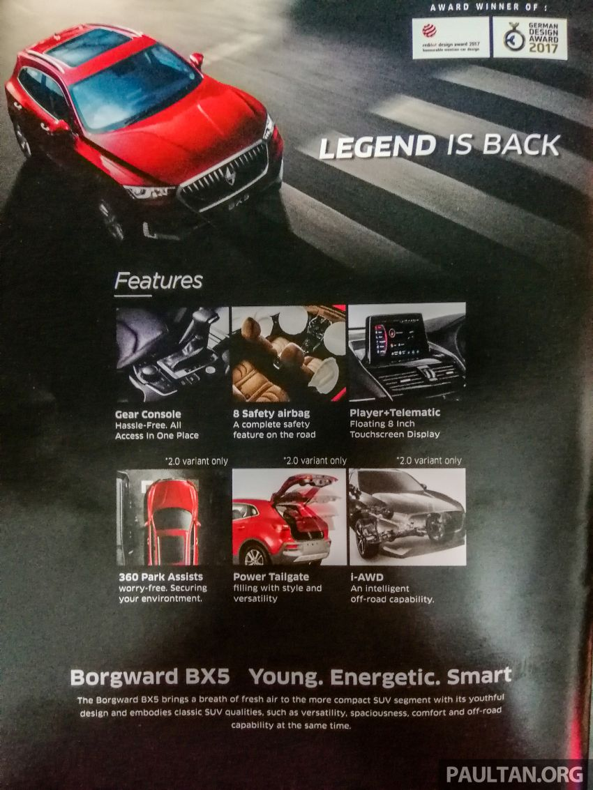 Borgward BX5 now on sale in Malaysia – 1.4T 2WD and 2.0T AWD powertrains; 5 variants; price from RM119k Image #982646