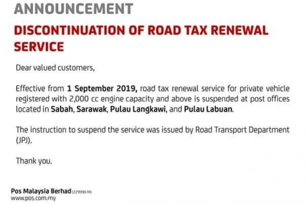 Road Tax Renewal At Post Offices Halted In Sabah Sarawak Langkawi Labuan For 2 0l And Above Cars Paultan Org