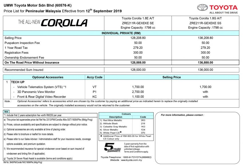 2019 Toyota Corolla now open for booking in Malaysia – Toyota Safety Sense offered; est price from RM129k Image #1015061