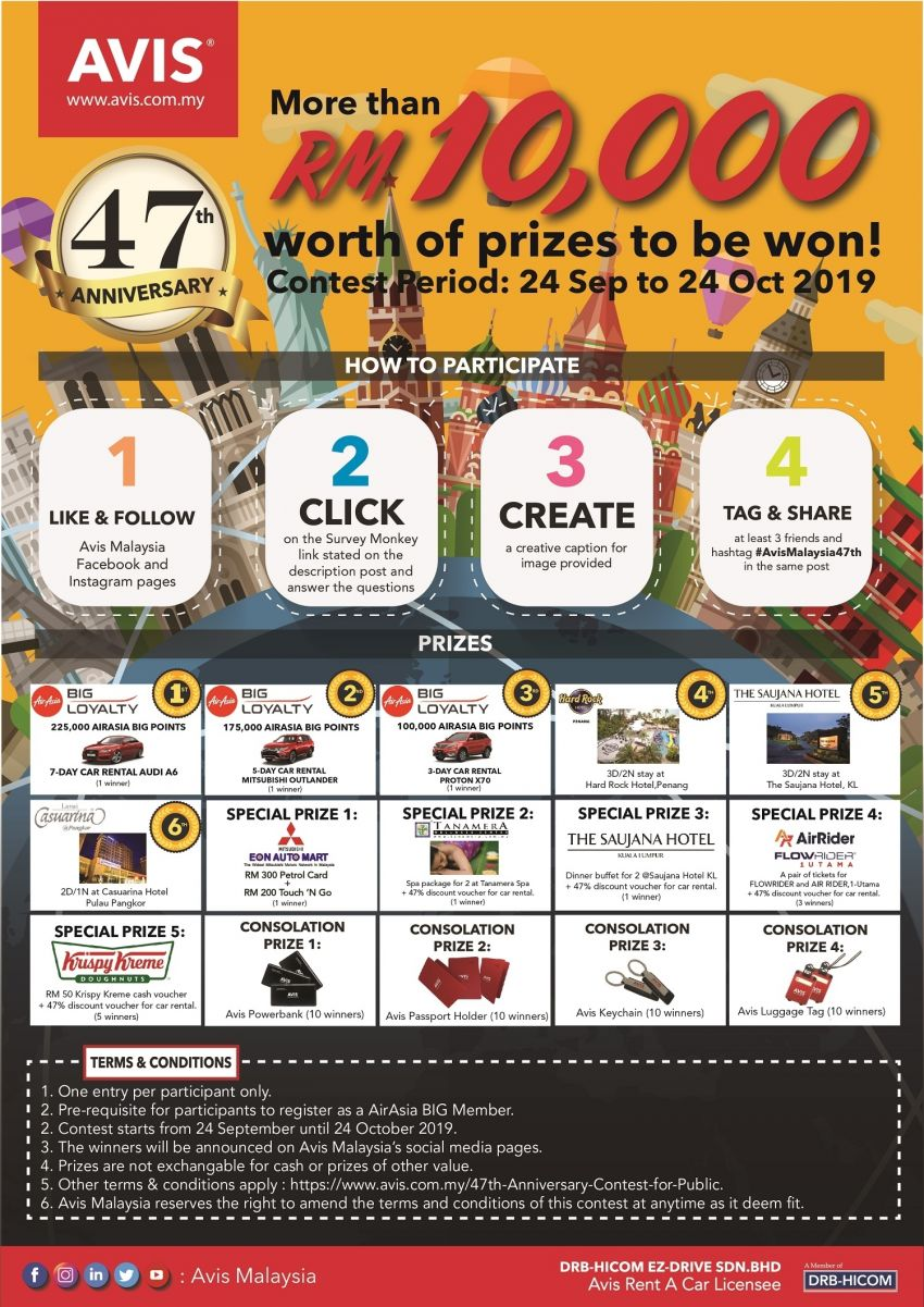 AD: Avis Malaysia 47th anniversary contest – AirAsia Big Points, prizes worth more than RM10k to be won Image #1021331