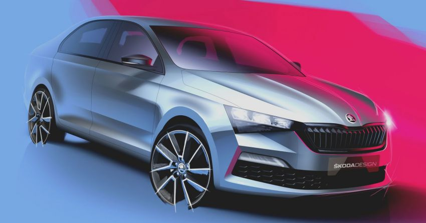 2020 Skoda Rapid gets teased in two official sketches Image #1055371