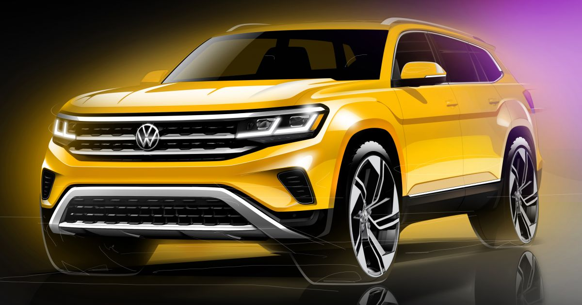 2021 Volkswagen Atlas facelift teased in 3 sketches