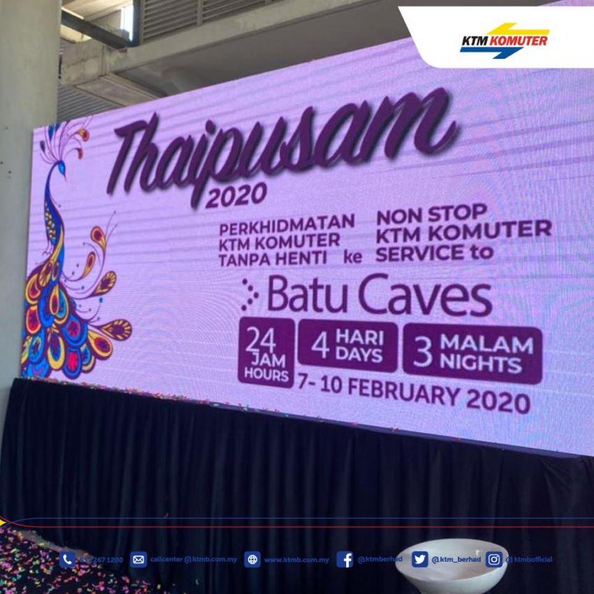 KTMB bakal sediakan perkhidmatan tren komuter 24 jam tanpa henti pada 7-10 Feb ini sempena Thaipusam Image #1075275