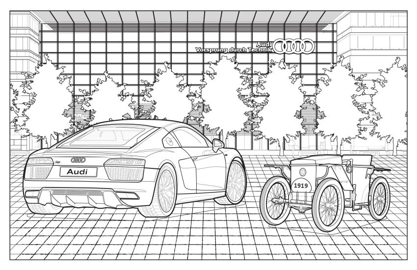 Mercedes-Benz, Audi colouring images to pass time Image #1099718