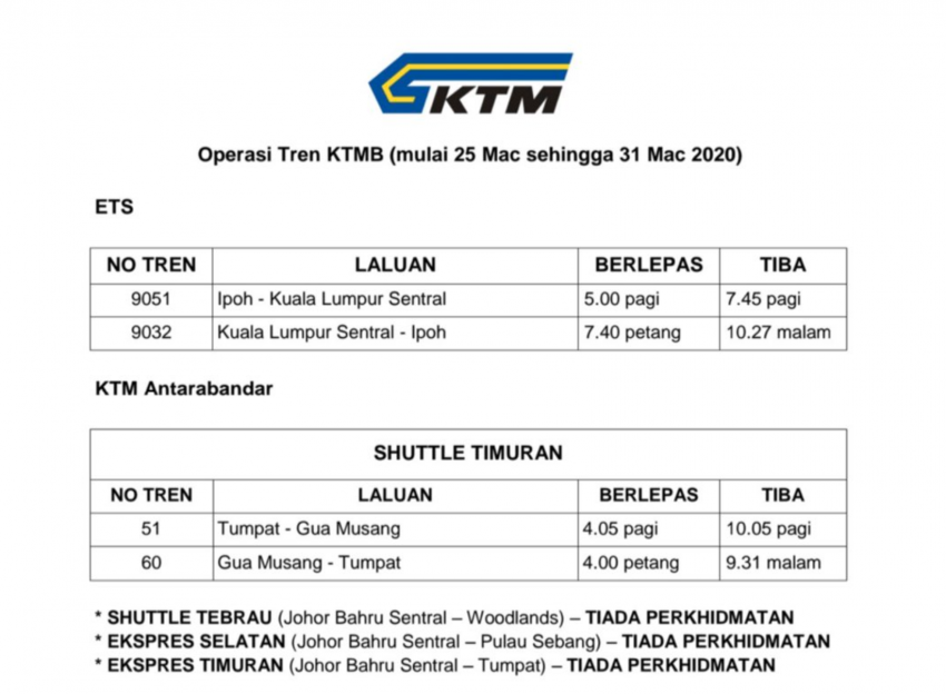 KTM suspends ETS and interstate train services for the MCO period, Komuter frequency reduced Image #1098850