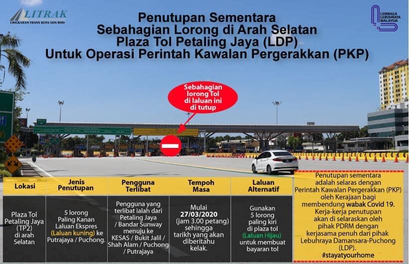 MCO: Partial closure of LDP Petaling Jaya toll lanes Image #1100461