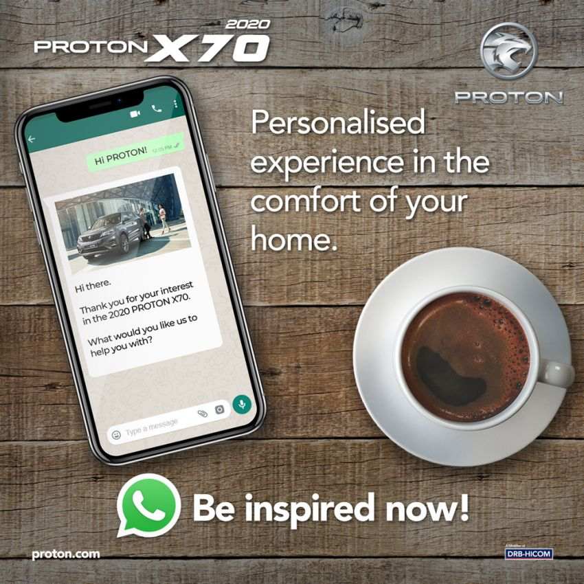 Proton launches WhatsApp chatbot for 2020 X70 SUV Image #1104499