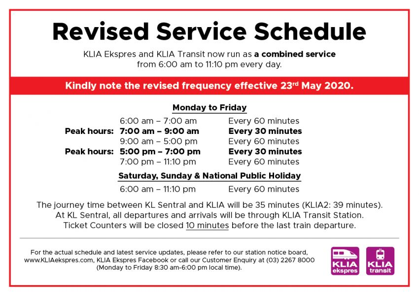 ERL revises train schedule – KLIA Ekspres and KLIA Transit services now combined, 6am to 11.10pm daily Image #1121362