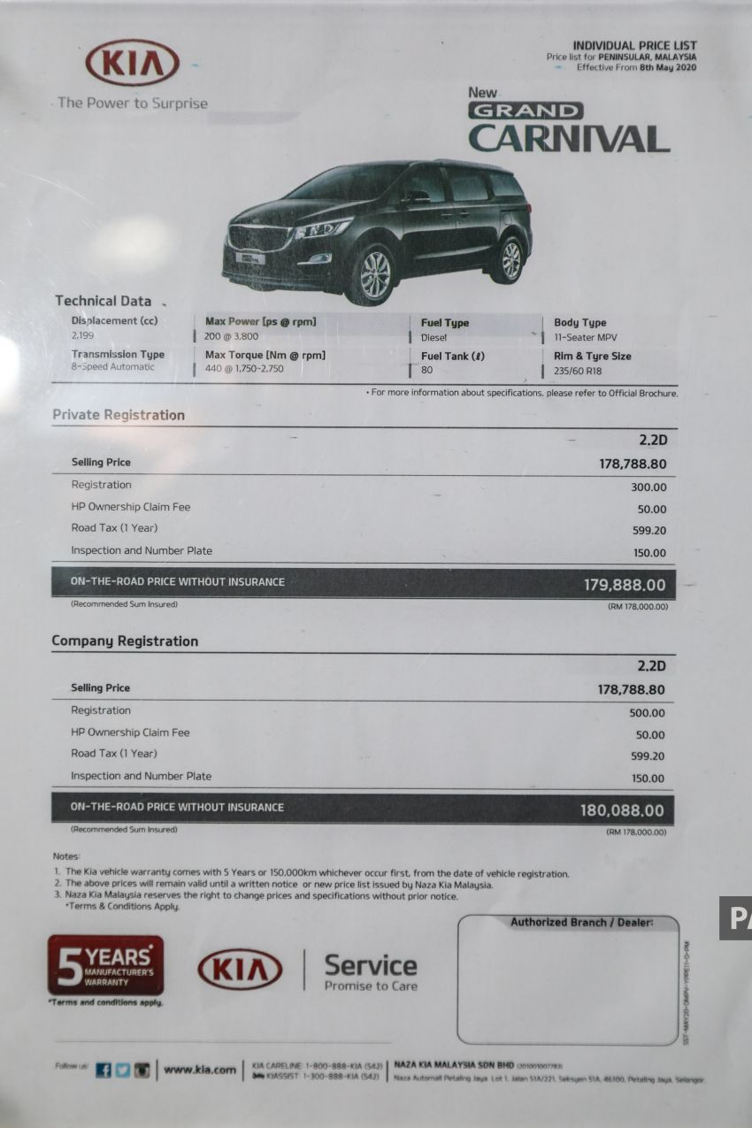 2020 Kia Grand Carnival with 11 seats now in M'sia – 2.2L turbodiesel, 200 PS, 440 Nm, 8-spd auto, RM180k Image #1119518