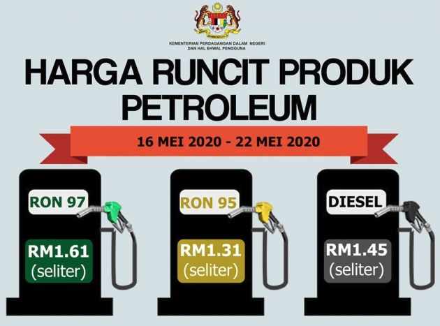 May 2020 Week Three Fuel Price Ron 95 Goes Up To Rm1 31 Ron 97 To Rm1 61 Diesel Increases To Rm1 45 Paultan Org