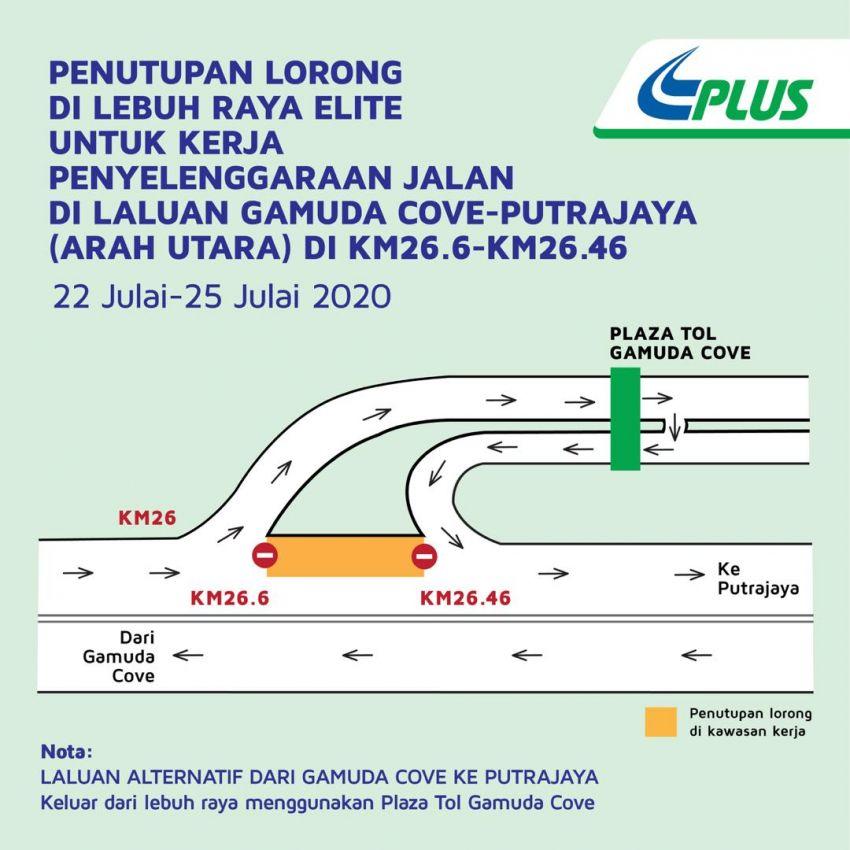 Elite Highway lane closure at Gamuda Cove-Putrajaya Image #1151358