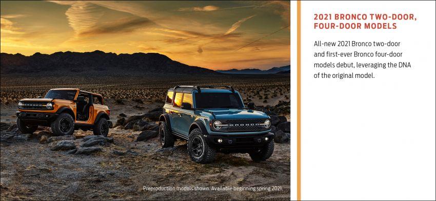 Ford Bronco 2021 didedahkan – pintu, bumbung dan panel badan boleh ditanggal, 2 pilihan enjin EcoBoost Image #1145757