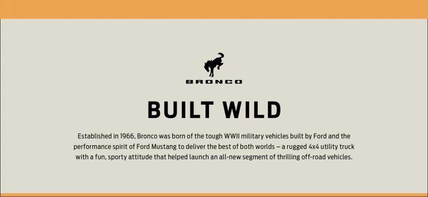 Ford Bronco 2021 didedahkan – pintu, bumbung dan panel badan boleh ditanggal, 2 pilihan enjin EcoBoost Image #1145740