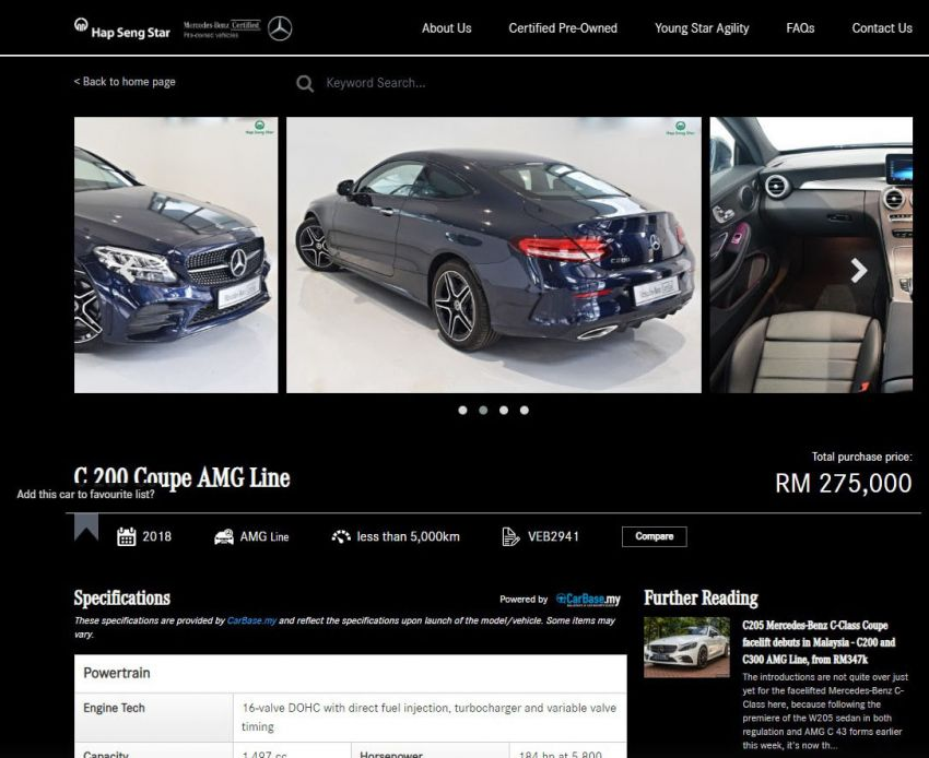 Hap Seng Star enhances Mercedes-Benz Certified online site with new features – more filters, watchlist Image #1151458