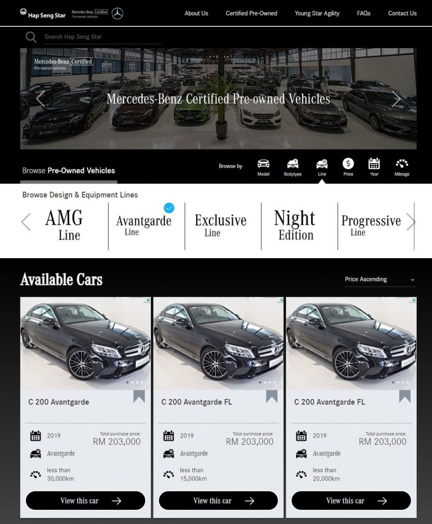 Hap Seng Star enhances Mercedes-Benz Certified online site with new features – more filters, watchlist Image #1151462