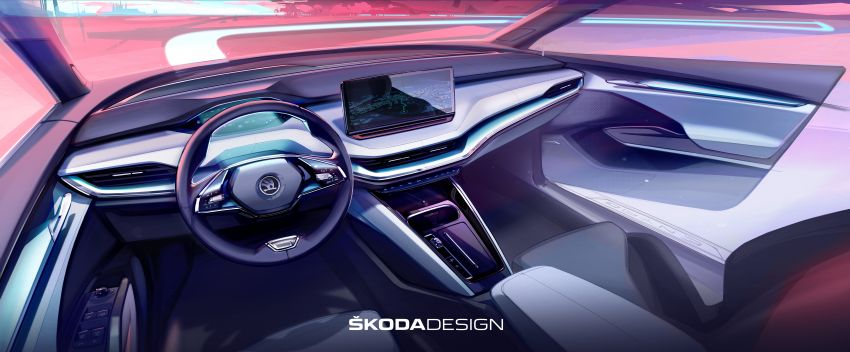 Skoda Enyaq iV reveals its interior in official sketch Image #1154148