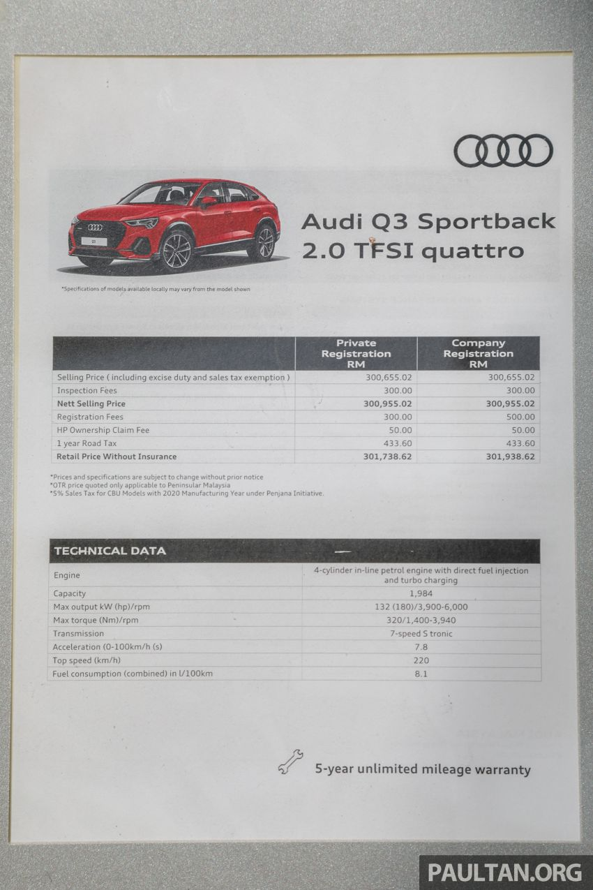 GALLERY: 2020 Audi Q3 Sportback 2.0 TFSI – RM302k Image #1165855