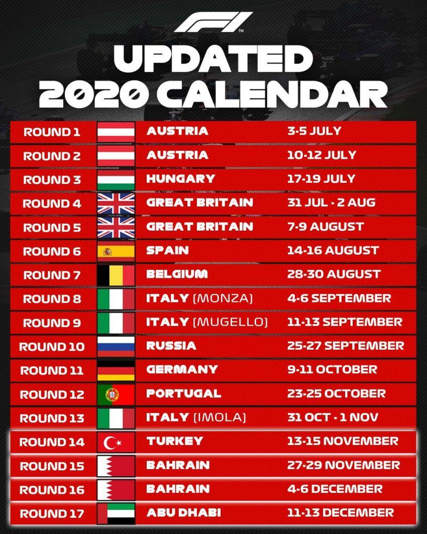 Formula 1 2020: Turkish, Bahrain, Sakhir, Abu Dhabi Grand Prix added to 2020 season – 17 races in total Image #1167261
